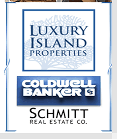 Luxury Island Properties Coldwell Banker Schmitt real Estate Co. Logo in Blue and White