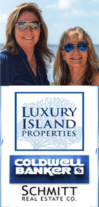 New picture of Jan and Charlotte wearing sun glasses with Luxury Island Properties Cold well Banker logo under photo