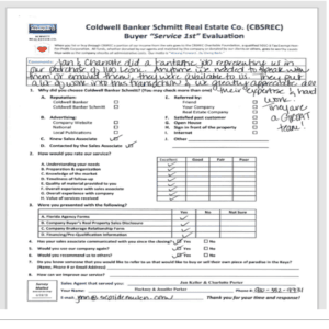 Coldwell Banker Schmitt Real Estate Co. Evaluation Form