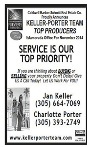 Keller- Porter Team Top Producers Serviceblack and white sign with Company info, phone numbers, website address etc.